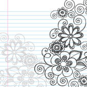 Hand-Drawn Sketchy Flowers and Vines Notebook Doodles