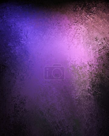 Photo for Old worn royal purple grunge background and dark black vignette border on frame with vintage grunge texture and copy space for ad or text - Royalty Free Image
