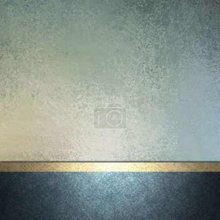 Photo for White and light and dark blue background with gold trim ribbon layout decoration for sign or template card with copy space and vintage grunge texture and soft faded pastel color for Easter - Royalty Free Image