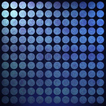 Photo pour Fond abstrait à pois bleus avec texture grunge vintage rétro et bordure vignette noire sur cadre - image libre de droit