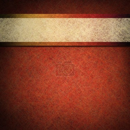 Photo for Orange copper color background with contrasting white parchment ribbon stripe layout design on vintage grunge texture with black vignette frame on border for fall autumn or Thanksgiving or Halloween - Royalty Free Image