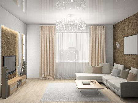 Photo for Modern interior of a living room 3D - Royalty Free Image