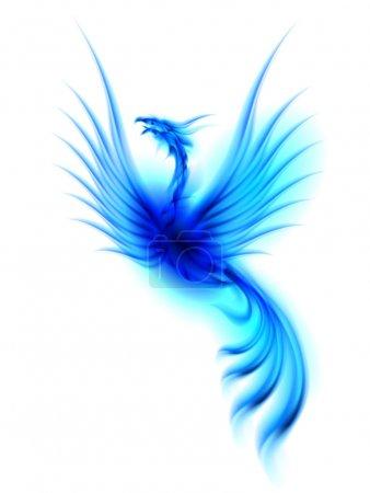 Foto de Versión rasterizada. Fénix azul ardiente aislado sobre fondo blanco - Imagen libre de derechos