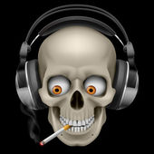 Skull with headphones with a cigarette