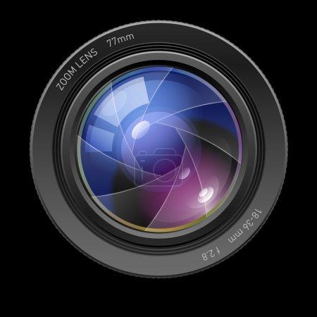 Illustration pour Objectif photo. Illustration sur fond noir pour le design - image libre de droit