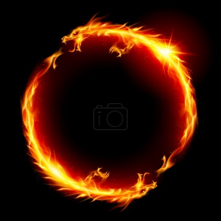 Illustration for Ring of Fire of the Dragon. Illustration on white background. - Royalty Free Image