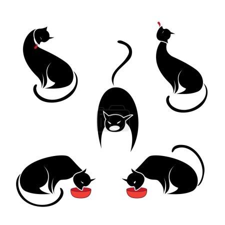 Big set of the black cats.
