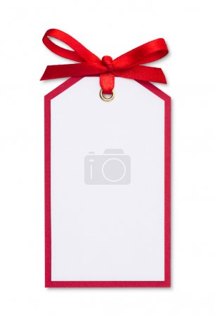 Photo for Close up of card note with red ribbon on white background - Royalty Free Image
