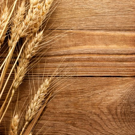 Photo for Wheat on the wood background - Royalty Free Image
