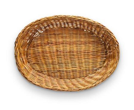 Photo pour Panier en osier brun vue de dessus isolé sur fond blanc - image libre de droit