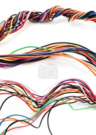 Photo for Multi Colored computer cable isolated on white background - Royalty Free Image