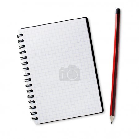 Photo for Pencil and notebook isolated on a white background - Royalty Free Image