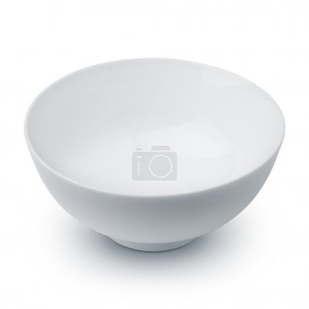 White ceramic bowl on white background...