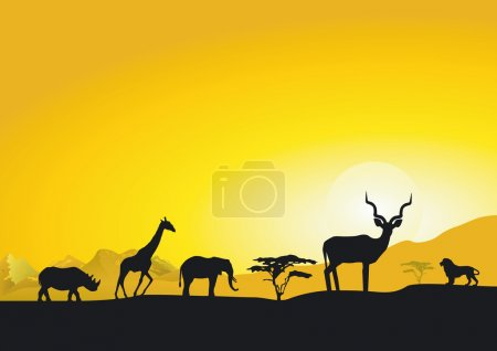 Illustration for Evening in Africa - Royalty Free Image