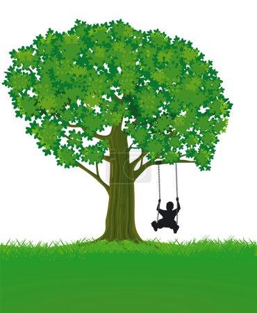 Illustration pour Enfant et arbre - image libre de droit