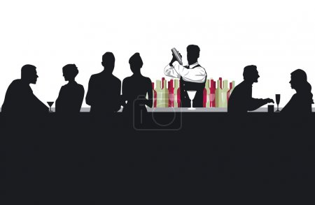 Cocktail bar with bartender...