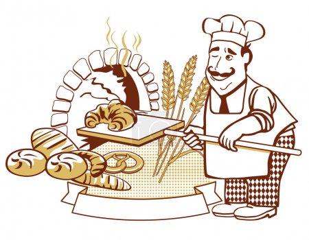 Illustration pour Baker au four - image libre de droit