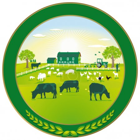 Illustration for Green Agriculture badge - Royalty Free Image