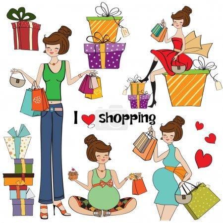 Photo pour Filles à des articles de shopping fixés sur fond blanc - image libre de droit