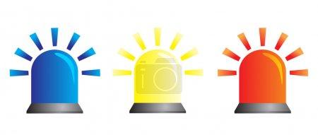Illustration pour Feux clignotants de différentes couleurs, symbole d'alerte, d'avertissement et d'urgence - image libre de droit