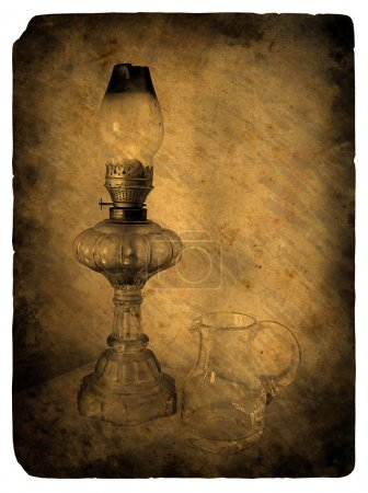 Photo for Oil lamp. Old postcard, design in grunge and retro style - Royalty Free Image