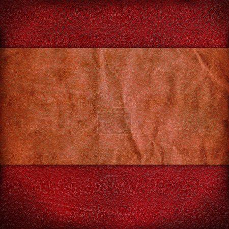 Photo pour Fond rouge vintage avec une bande de papier froissé et taches de grunge . - image libre de droit