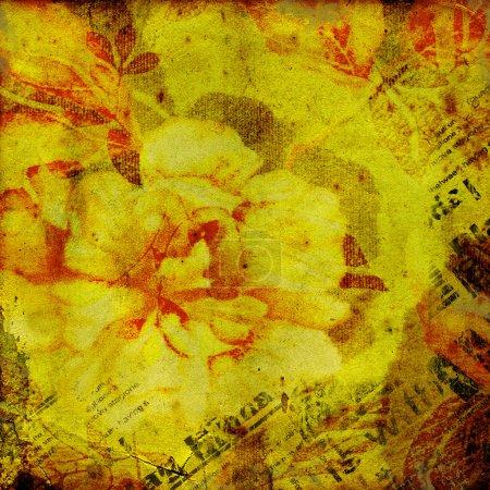 Foto de Viejo textura fondo en estilo vintage. flores y el periódico - Imagen libre de derechos