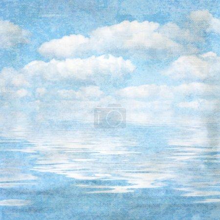 Vintage textured background blue sky