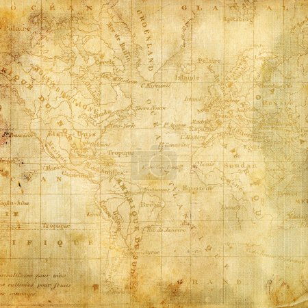 Background with the old map of the Americas