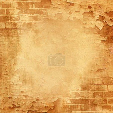 Photo pour Mur abstrait, brique, peinture fissurée. Image de fond vintage pour album photo design, livre photo avec texture grunge . - image libre de droit