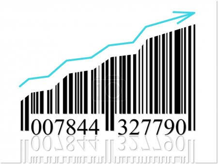 Photo for Barcode with arrow symbolize the business growing - Royalty Free Image