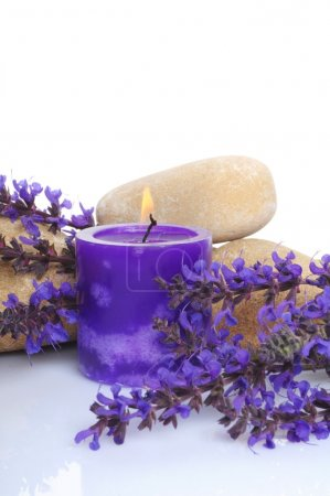 Photo for Stone, candle and a bunch of lavender on white background - Royalty Free Image