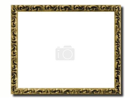 Photo pour Un cadre photo doré sur fond blanc - image libre de droit