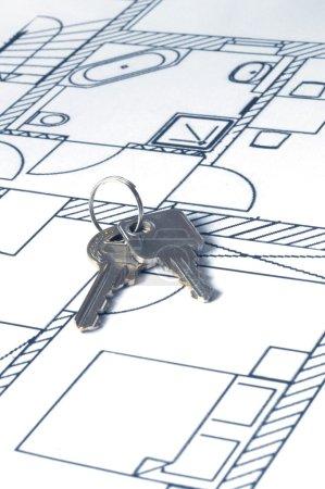 House key on a blueprint