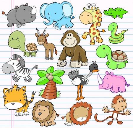 Photo pour Safari Animal Vector Illustration Eléments de design Set - image libre de droit