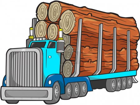 Logging Truck Vector Illustration