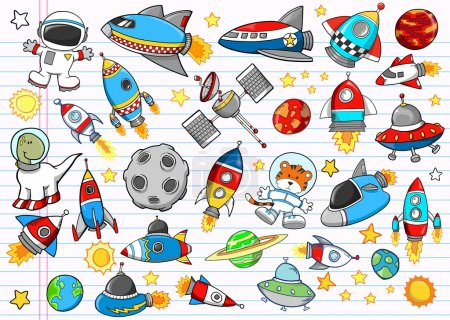 Illustration for Outer Space Rocket Ship Doodle Sketch Vector Illustration Set - Royalty Free Image
