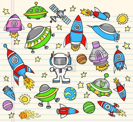 Illustration for Outer Space Doodle Elements Vector illustration art Set - Royalty Free Image