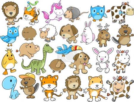 Illustration for Cute Animal Vector Illustration Design Elements Set - Royalty Free Image