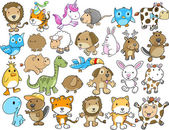 Cute Animal Vector Illustration Design Elements Set