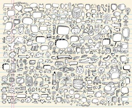 Notebook Doodle Sketch Vector Design elements Set