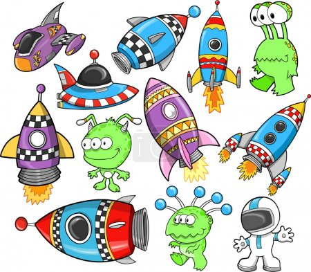 Illustration for Cute Outer Space Vector Design Elements Set - Royalty Free Image