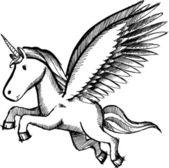 Sketch Doodle Unicorn Pegasus Vector Illustration