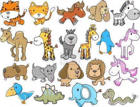 Illustration for Cute Animal Safari Wildlife Vector Set - Royalty Free Image