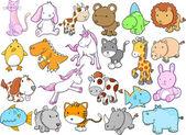 Cute Animal Wildlife Vector Design Set