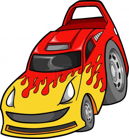 Street Race Car Vector Illustration