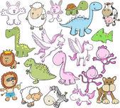 Cute Animal Vector Illustration Set
