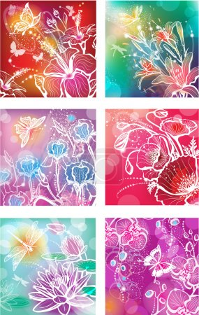 Set of illustrations with flowers