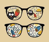 Retro sunglasses with owl and meat reflection in it
