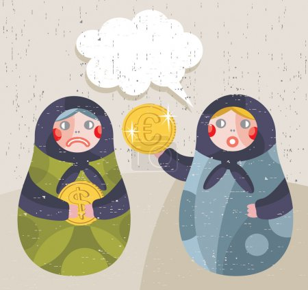 Matreshka doll with business news about currency.